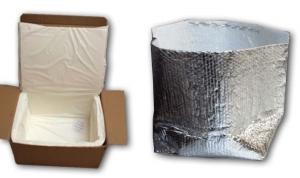 white fiber box metalized pouch
